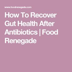 How To Recover Gut Health After Antibiotics   Food Renegade
