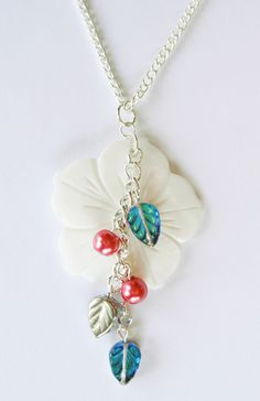 Shell Flower Pendant Necklace with Raspberry Pearls and Capri Blue Glass Leaves