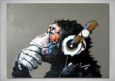Peinture Huile sur Toile Fait Main Art Abstrait Monkey Musique Singe