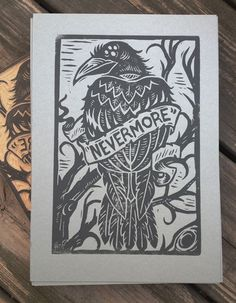 "Derrick Castle  -  ""Nevermore"" Block Print - Fine Arts Graphic Design Illustration"