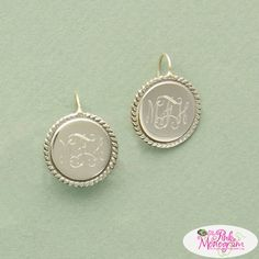 Round monogrammed silver earrings on a french wire enhanced with braid trim Perfect for any outfit and any occasion