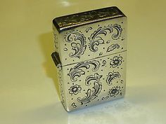 VINTAGE HANDMADE ENGRAVED 800 SILVER CASE ITALY ZIPPO LIGHTER INLAY 1990 RARE Collectables:Tobacciana & Smoking Supplies:Lighters:Other Lighters