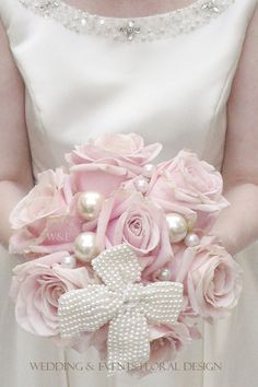 The Ultimate Pink Rose Bouquet...Sweet Avalanche Roses with Pearls & a Pearl Bow created by Wedding & Events Floral Design www.weddingandevents.co.uk