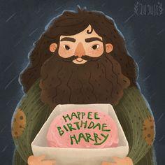 Посмотреть иллюстрацию Август - с днем рождения Гарри!. гарри поттер книга хагрид с днем рождения хогвартс торт