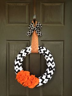 Halloween Black Chevron with Orange Ruffles by PolkadotsOriginals, $28.00