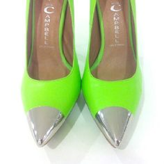 Jeffery Campbell Neon pumps | Neon Green | Silver Toed | Metal | Two Toned
