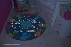 NEW: Alien Party Rug by Arte Espina, a round alien themed glow in the dark soft & dense acrylic rug Circle)) Alien Party, Childrens Rugs, Poker Table, Boy Or Girl, Glow, Kids Rugs, Colours, Pattern, Dark