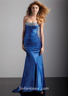 Purple Strapless Long Formal Dresses