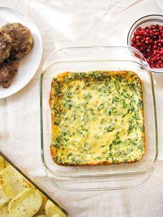 Baked Egg Custard with Gruyere and Chives by katieatthekitchendoor #Eggs #Custard