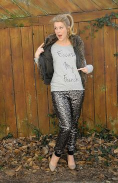 Excuse my French | Three Sweet Peas Sequin pants