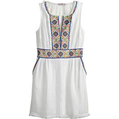 CALYPSO St. Barth Gamasa Hand Embellished Linen Dress (89 KWD) ❤ liked on Polyvore featuring dresses, white cc, white dress, linen dresses, white shift dress, bohemian dresses and bohemian summer dresses