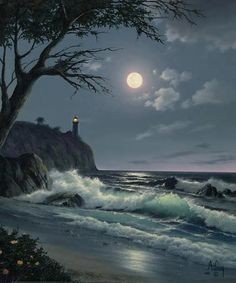 Wish we were there. Sea Bright Moon & Lighthouse