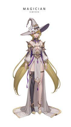 ArtStation - MAGICAN, KIM YENA Fantasy Character Design, Character Design Inspiration, Character Concept, Character Art, Dnd Characters, Fantasy Characters, Female Characters, Fantasy Women, Fantasy Girl