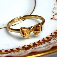 Gold Bow Ring - rings