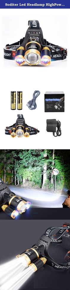 Soditer Led Headlamp HighPower Zoom Headlamp Rechargeable Headlamp Outdoor Riding, Camping, Fishing Headlights (Gold). Product Name: XM-L T6 Rechargeable Headlamp outdoors product manual: 1, The scope: running, hiking, hunting, camping, fishing and other outdoor activities and indoor work. Special work use: dam patrol, search and rescue, on-site inspection, first aid at sea. 2,Operating modes: low (middle light) / (the two small lights on the side) / high (three lights) / strobe (flash to)…