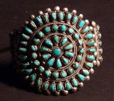 Classic Zuni/Navajo Sterling Turquoise Petit Point Cluster Cuff Bracelet - Vintage Native American Jewelry on Etsy, $325.00