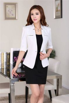 Blazer Feminino Its Best Attire Business 15 Business Casual Outfits, Business Dresses, Office Outfits, Work Fashion, Asian Fashion, Fashion Black, Fashion Ideas, Lawyer Outfit, Suits For Women