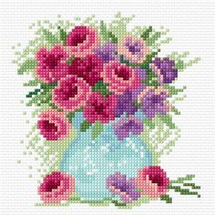 Cross stitch flowers