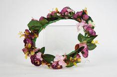 Purple Ranunculus Flower Crown for Weddings, Bridal, Bridesmaid, Hens and parties Flower Pens, Pink Hydrangea, Ranunculus, Green Leaves, Artificial Flowers, Color Pop, Jw Convention, Floral Wreath, Bloom