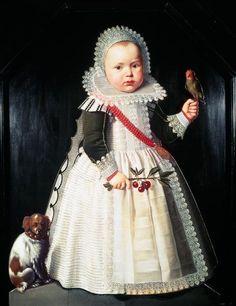 Wybrand Symonsz de Geest-Portrait of a young boy holding a parrot.