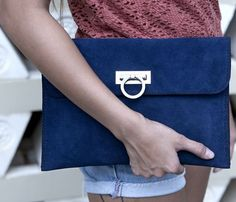 love a large suede clutch