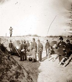 Morris Island, South Carolina Federal mortars aimed at Fort Sumter, with crews. Date Created/Published: American Civil War, American History, Morris Island, Fort Sumter, Confederate States Of America, Civil War Photos, Us History, Interesting History, Military History