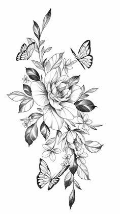 Hip Thigh Tattoos, Hip Tattoos Women, Sleeve Tattoos For Women, Rose Tattoos, Flower Tattoos, Body Art Tattoos, Small Tattoos, Floral Tattoo Design, Butterfly Tattoo Designs