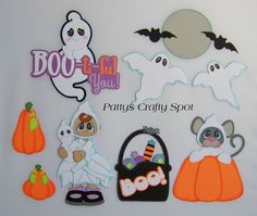 TOCG Halloween Boo ti ful You Pumpkin Mouse Bat Moon Paper Piecing by Patty