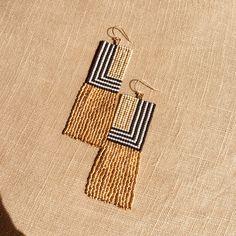Stripes & gold fringe earrings / ONLY CHILD Handicrafts