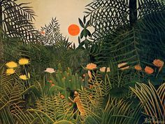 Henri Rousseau (1884-1910), French Post-Impressionist painter. Depicted many jungle scenes though he never saw a jungle himself. His art was ridiculed much, but it later influenced artists like Picasso and the surrealists.