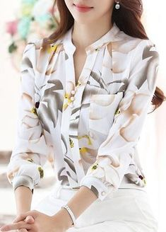 Buy Blouses & Shirts For Women at PopJulia. Online Shopping Printed Long Sleeve Stand Collar Chiffon Elegant Blouse, The Best Blouses & Shirts For Women. Discover Fashion Trends at Blouse Styles, Blouse Designs, Modest Fashion, Fashion Outfits, Fashion Shirts, Womens Fashion, Cut Up Shirts, Long Shirts, Printed Shirts