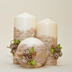 Decoupage candle: photos) master classes with ideas of holiday décor - Part 6 Homemade Candles, Diy Candles, Scented Candles, Candle Decorations, Beeswax Candles, Candle In The Dark, Candle Making Business, Candle Art, Photo Candles