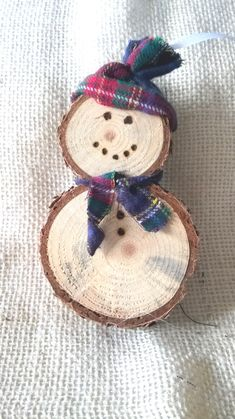 ON SALE Log Slice Wooden Snowman Ornament - $7.00 USD