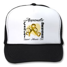 Heart Ribbon Appendix Cancer Awareness Hat by www.cancerapparelgifts.com