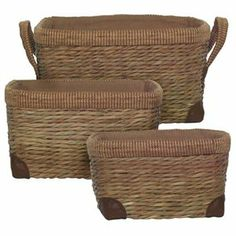 Cotton Lined Rush Rectangle Baskets w/ Tweed Edge, Set of 3 - 17Lx13Wx9H 1 of 1