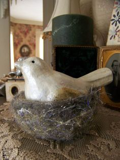 Needle Felted Nest and Bird Needle Felted Wool Bird by QueenBe
