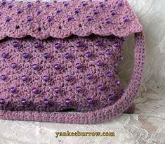Radiant Orchid Lilac Beaded Handbag Shoulder Purse - $35.00 - Handmade Accessories, Crafts and Unique Gifts by Yankee Burrow