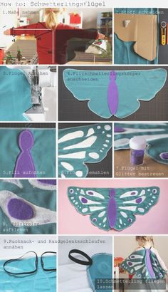 You can make a butterfly costume yourself fairly easily. - You can make a butterfly costume yourself fairly easily. Here& a quick guide on how to make y - Sewing For Kids, Diy For Kids, Costume Papillon, Diy Butterfly Costume, Fairy Costume Diy, Diy Papillon, Sewing Crafts, Sewing Projects, Diy Carnival