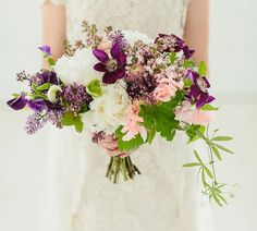 white and purple bouquet featuring peonies, clematis, lilac and sweet peas by Blue Lotus Modern Wedding Flowers, Purple Wedding Flowers, White Wedding Bouquets, Bridal Flowers, Flower Bouquet Wedding, Floral Wedding, Bridal Bouquets, Purple Bouquets, Bridesmaid Bouquets