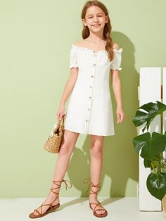 To find out about the Girls Off Shoulder Frilled Button Front Pleated Dress at SHEIN, part of our latest Girls Dresses ready to shop online today! Tee Dress, Belted Dress, Cord Pinafore Dress, Cute Dresses, Girls Dresses, Celebrity Casual Outfits, Houndstooth Dress, Button Front Dress, Types Of Sleeves
