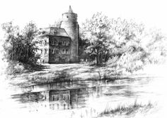Uniejow Castle by on DeviantArt Alien Drawings, Ink Drawings, Landscape Pencil Drawings, Sketches Of Love, Classic Architecture, Quick Sketch, Beautiful Drawings, Cool Paintings, Dibujo
