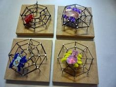 Techniek in de klas: we timmeren een spinnenweb ! / Technology in the classroom: we hammering a spiderweb! Autumn Crafts, Fall Crafts For Kids, Crafts To Do, Projects For Kids, Diy For Kids, Arts And Crafts, Theme Halloween, Halloween Crafts, Preschool Art