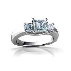 14K White Gold Square Genuine Aquamarine Trellis Ring Size 5
