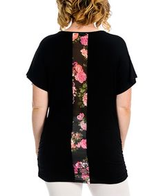 Look what I found on #zulily! Black Floral-Detail Crewneck Top - Plus…