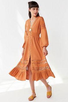 Slide View: 1: UO Kian Embroidered Button-Down Midi Dress