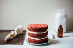 red velvet coconut macaroon cake
