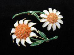 Vintage WEISS Set of Two Enamel Flower Pins by jwvintagejewelry, $44.00