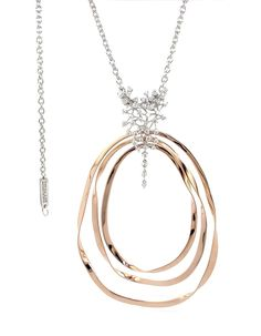 Necklace in white and pink gold with diamonds.