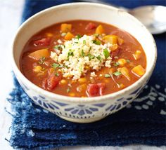 Moroccan tomato & chickpea soup with couscous | BBC Good Food