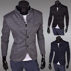 Tunic Collar Two Button Slim Fit Men Blazer Blazers For Men, Tunic, Buttons, Style Inspiration, Slim, Mens Fashion, Fitness, Men Blazer, Sweaters